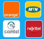 Logos  des 4 opérateurs de téléphonie mobile du Cameroun : Camtel, MTN, Nexttel et Orange