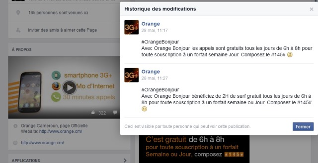 Capture Facebook Orange Bonjour
