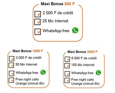 forfaits Maxi Bonus Whatssap