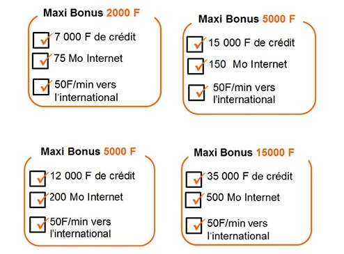 Maxi Bonus appel internationaux