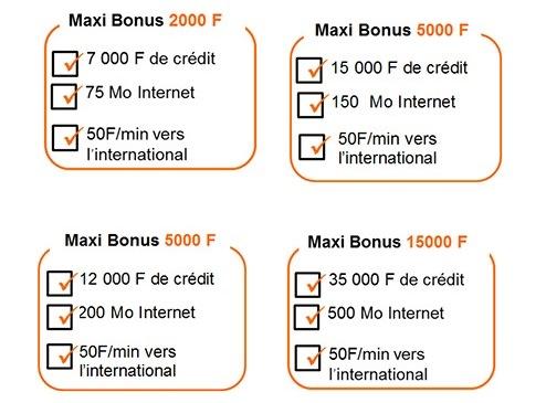 Maxi Bonus appel internationaux