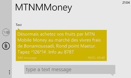 SMS MTNMMoney acheter des fruits