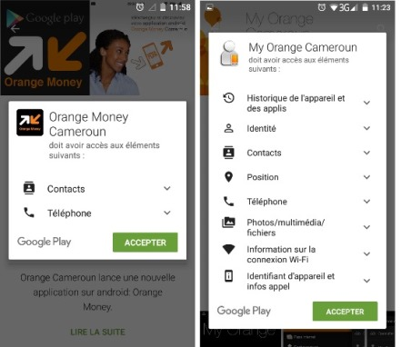 Accès des appli Orange Cameroon Orange Money