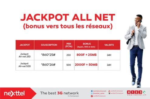 jackpot all net Nexttel appels tout réseau