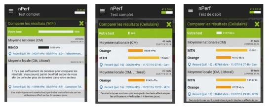 Comparaison nperf des performances des opérateurs  Mobile et wifi