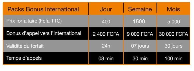 PacK bonus International Orange Cameroun